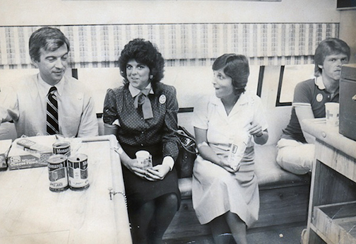With rare blood type 0-negative, Mona was a longtime donor for the Red Cross Blood Bank. Photo is from bloodmobile visit to Asheville Citizen sometime in the early 80s.